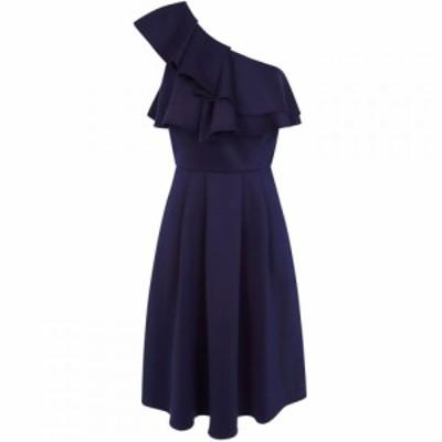 チチ Chi Chi レディース ワンピース ワンピース・ドレス Ruffle Detail One Shoulder Midi Dress Navy