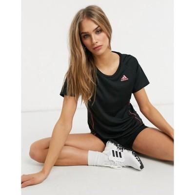 アディダス レディース シャツ トップス adidas Running long t-shirt in black