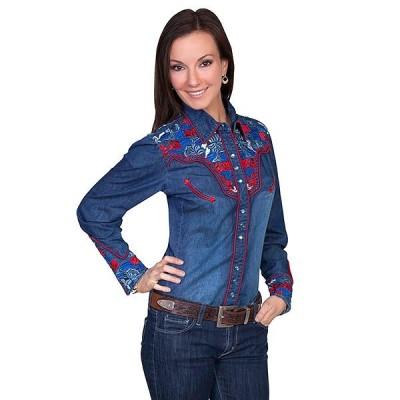 ウエスタンシャツ 刺繍 デニムシャツ 女性 PL-654C DEN XS-M