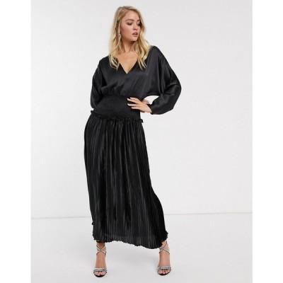 エイソス ASOS DESIGN レディース ワンピース ワンピース・ドレス shirred waist pleated maxi dress in satin in black ブラック