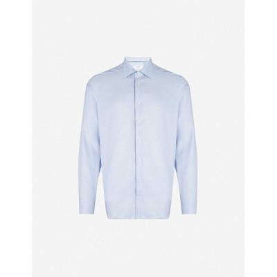 イートン ETON メンズ シャツ スキニー・スリム スリム トップス Slim-fit cotton-twill shirt Blue