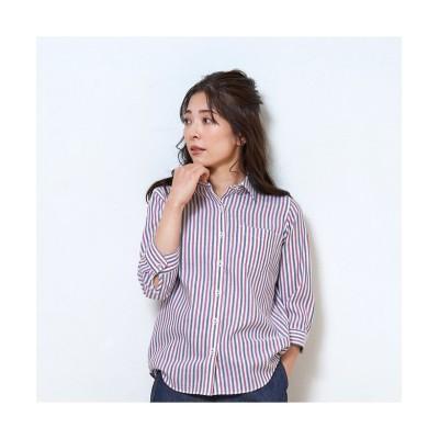 (BRICKHOUSE/ブリックハウス)シャツ カジュアル 七分袖 形態安定 Wガーゼ レギュラー衿 綿100% レディース/レディース ピンク・レッド