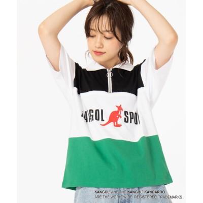 【ウィゴー】 ∴WEGO/KANGOL SPORT別注ハーフZIPTシャツ ユニセックス グリーン F WEGO