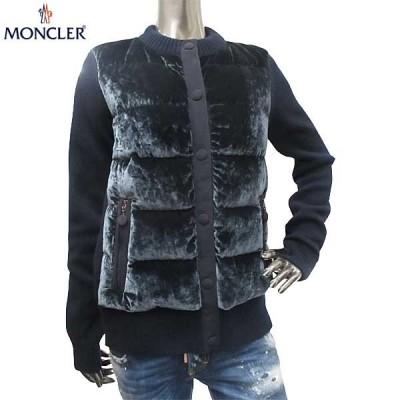 モンクレール MONCLER レディース アウター ダウン ジャケット ベルベット素材使用 ベロア/ニット切り返しダウンジャケット 紺 9482400 94889 742 (R167400)