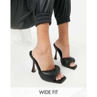 エイソス レディース サンダル シューズ ASOS DESIGN Wide Fit Niki padded twist high heeled mules in black