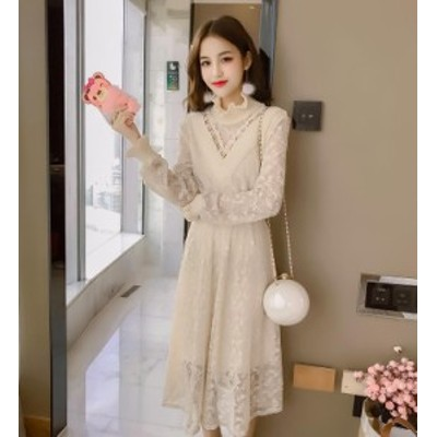 韓国 ファッション 総レース ワンピース ミモレ丈 ロング きれいめ 上品 暖かい パーティー お呼ばれドレス 二次会 フォーマル 結婚式 秋