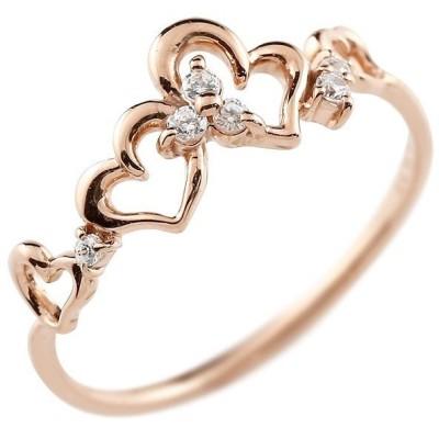ピンキーリング ハート ピンクゴールドk10リング ダイヤモンド シンプル 指輪 華奢リング 重ね付け 指輪 細め 細身 k10 アンティーク レディース 送料無料