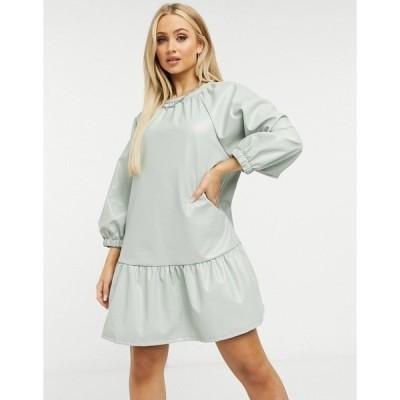 エイソス レディース ワンピース トップス ASOS DESIGN leather look mini smock dress in sage Sage