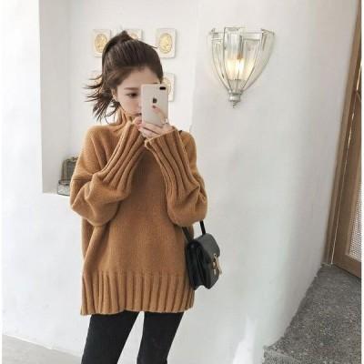 ニット レディース 秋服 暖かめ ハイネック シンプル ゆったり 体型カバー 長袖 秋冬ニット セーター  3色