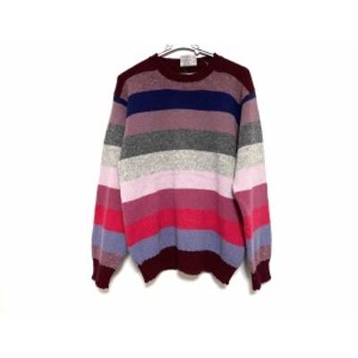 ジャミーソンズ Jamieson's 長袖セーター サイズ5 XS レディース - ボルドー×ネイビー×マルチ ニット/ボーダー【中古】20210110