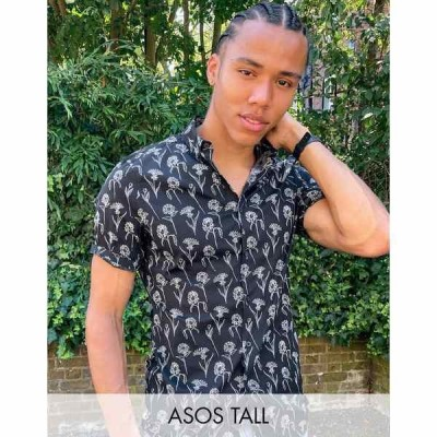 エイソス メンズ シャツ トップス ASOS DESIGN Tall stretch slim shirt in black scribble floral print Black
