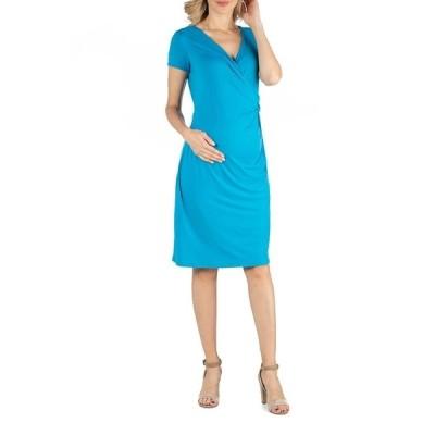 24セブンコンフォート ワンピース トップス レディース Faux Wrapover Maternity Dress with Cap Sleeves Turquoise