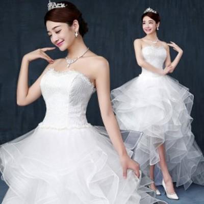 超可愛い 前上がり ウェディングドレス チュールスカート パーティドレス ビスチェ 白 結婚式 大きいサイズ オーダーサイズ可 H048