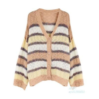 2020 カスタムメイド 秋と冬 新しい コントラスト ゆるい Vネック 勾配 明るいシルク 編み物 カーディガン ピッタリ 縞 ストライプ セーターコート