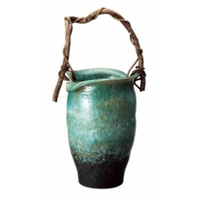 信楽焼 陶器 傘立 和風 モダン 洋風 緑窯変つる付傘立て 高さ48.0cm(つるの部分は含みません)