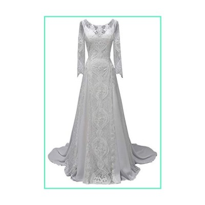 Women's Beach Wedding Dresses for Bride 2019 Vintage Long Sleeves Lace Bohemian Bridal Gown White US2並行輸入品
