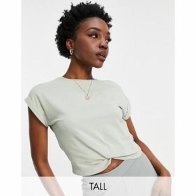 オンリー Only Tall レディース ベアトップ・チューブトップ・クロップド Tシャツ organic cotton cropped t-shirt with twist front in