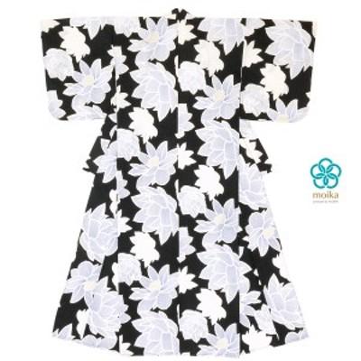浴衣 レディース レトロ moika 黒 ブラック 白 ホワイト 睡蓮 スイレン 花 フラワー 綿 変わり織り 夏祭り 花火大会 女性用 仕立て上がり