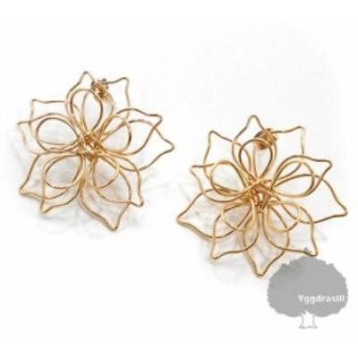 花柄 ワイヤー フラワーモチーフ ピアス ゴールド 金 2個セット 両耳 レディース 梨花好きに