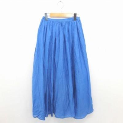 【中古】ブリスポイント BLISSPOINT スカート ロング フレア ギャザー 薄手 無地 シンプル ウエストゴム M 青 ブルー