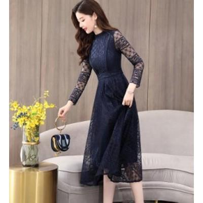 ミモレ 総レース ドレス 結婚式 パーティードレス 袖あり 大きいサイズ 3L 長袖 レディース 黒ドレス 赤 ネイビー スタンドカラー
