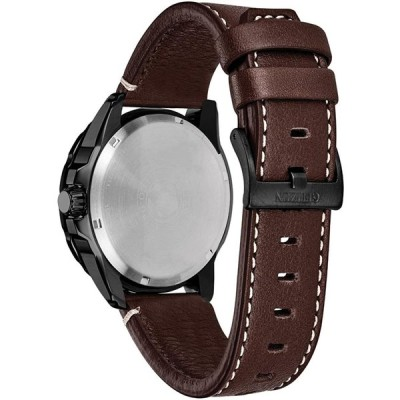 Citizen PRT Black Dial Leather Strap Men's Watch AW7045-09E