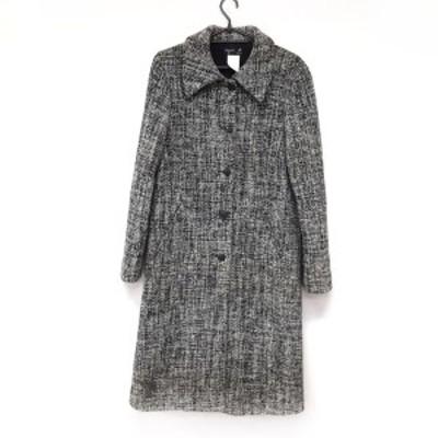アニエスベー agnes b コート サイズ38 M レディース - 白×黒 長袖/肩パッド/冬【中古】20210402