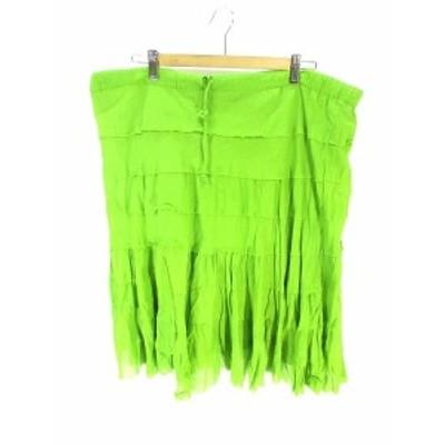【中古】ジャックポット JACKPOT スカート 膝丈 腰紐 フレア ONE グリーン 緑 レディース