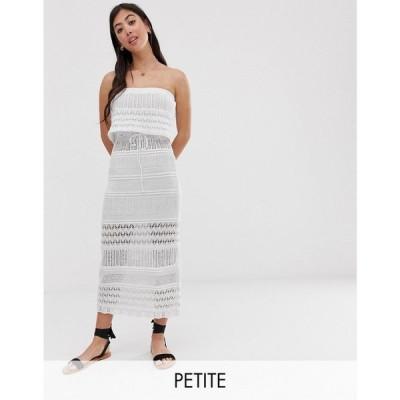 エイソス ASOS Petite レディース ワンピース ワンピース・ドレス ASOS DESIGN Petite crochet bandeau maxi dress White