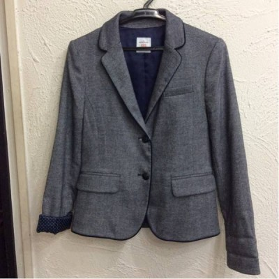 GAP Gap ジャケット 紺色&白ベージュ系混じり色 袖口折り返すと、紺色&白色ドット柄 サイズXXS