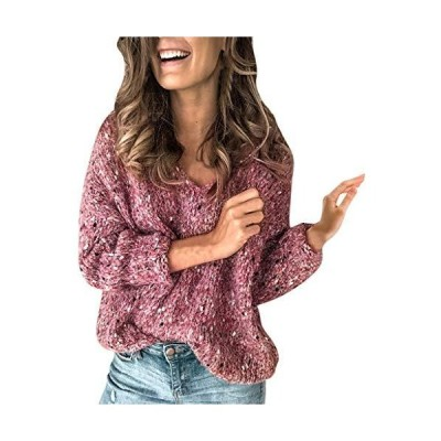 Mikey Store Women Casual Thick Regular Long Sleeve V-Neck Pullover Knit Loo