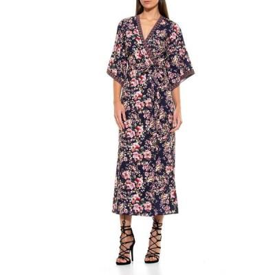 アレクシアアドマー レディース ワンピース トップス Short Kimono Sleeve Print Wrap Dress NAVY MULTI