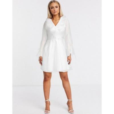 フォーエバーユニーク ミニドレス レディース Forever U organza frill mini dress in white エイソス ASOS ホワイト 白