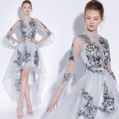 パーティードレス 結婚式ドレス 袖あり 二次会ドレス ミディアム丈ドレス お呼ばれ 卒業式 成人式 イブニングドレス XXS~3XL