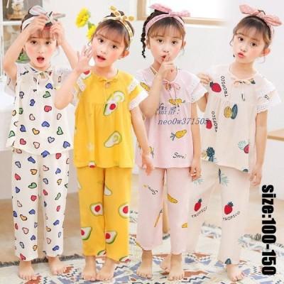 キッズ 夏 ズボン 女の子 子供パジャマ 半袖 パジャマ プリント トップス 部屋着 おしゃれ ナイトウェア 寝巻き セットアップ ベビー 可愛い 薄手 ルームウェア