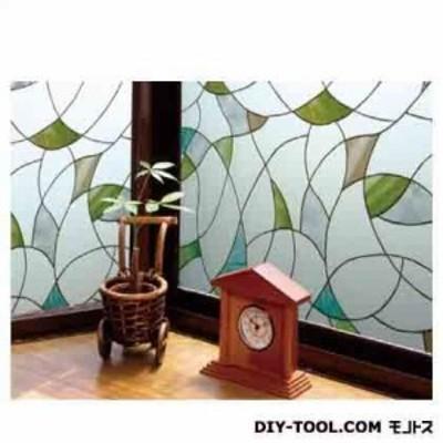 明和グラビア 飛散防止効果のある窓飾りシート グリーン 46cm丈×90cm巻 GH-4603