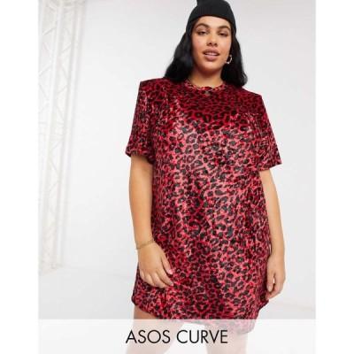 エイソス ASOS Curve レディース ワンピース Curve padded shoulder short sleeve t-shirt mini dress in red velvet leopard print レッドレオパード