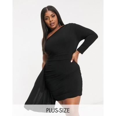 クラブエル ロンドン Club L London Plus レディース ワンピース One Shoulder Mini Dress With Asymmetric Ruffle Detail In Black ブラック