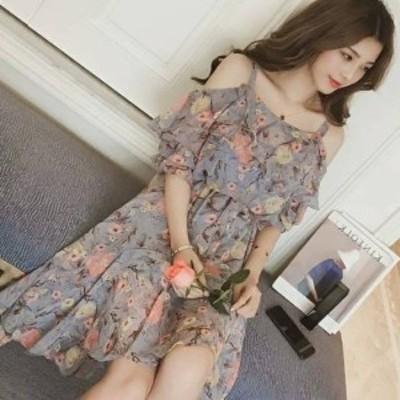 大人ガーリー ストラップ付きオフショル花柄フリルワンピースドレス d0169