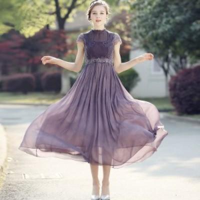 スタンドカラー レース刺繍 シンプル ワンカラー 透け感 Aライン エレガント ミディアム丈 ドレス