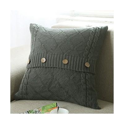 Douhケーブルニット枕カバー( 18?x 18インチ)ソフトセーター正方形ソファスロー枕カバークッションカバー装飾枕カバーwith Coconutシ