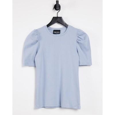 ピーシーズ Pieces レディース Tシャツ トップス t-shirt with puff sleeves in blue ペールブルー