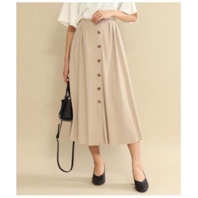 スカート フロントボタンデザインリブフレアスカート