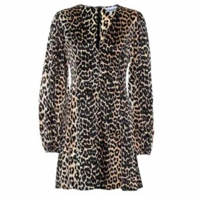 ガニー Ganni レディース ワンピース ワンピース・ドレス Leopard-printed silk minidress leopard