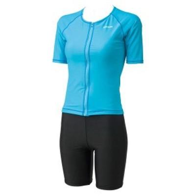 フットマーク 水泳 袖付セパレーツ ベーシックM~3L 16 サックス 水着(254053-06)