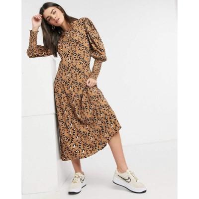 ヴィラ Vila レディース ワンピース ワンピース・ドレス Puff Sleeve Dress In Animal Print アニマルプリント