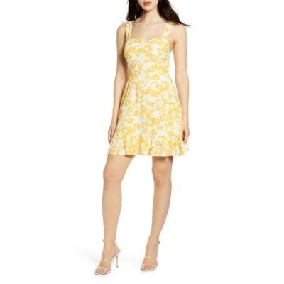 オールインフボール ワンピース トップス レディース Sleeveless Smocked Sundress Cream Yellow Floral