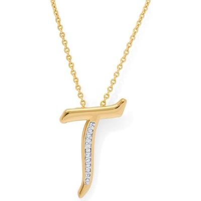 """メイシーズ Macy's レディース ネックレス ジュエリー・アクセサリー Diamond Accent Initial Pendant Necklace 18"""" in Gold Plate"""
