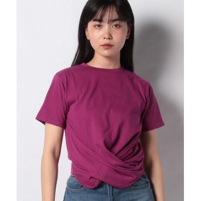 【スタイルブロック】 二重地天竺ツイスト半袖Tシャツカットソー レディース ピンク M STYLEBLOCK