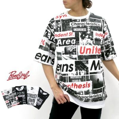 Tシャツ メンズ B ONE SOUL ビーワンソウル 半袖 アンサンブル タンクトップ付き ティーシャツ ロング タンク